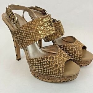 Isola Womens Heels Size 8.5 Beige Brown Snake Prin